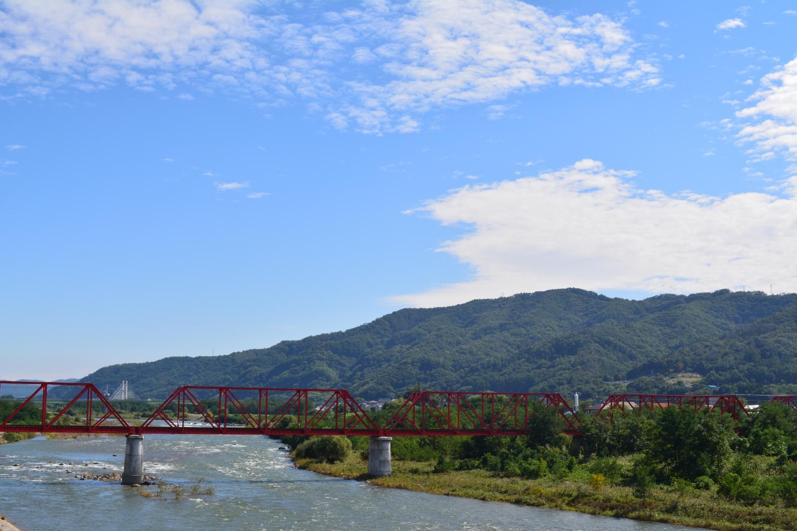 別所線 赤い鉄橋と千曲川